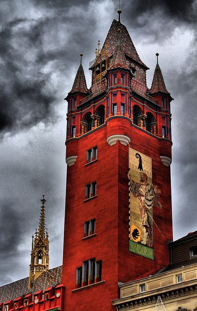ARCHITECTURE – Red Tower, Town Hall, Basel, Switzerland. Astrogeographic position: in the earth sign Taurus the sign of town centers and market places so typical for the place where a town was founded. 2nd coordinate is in the emotional water sign cancer which would have to serve as the indicator for the red colour of the town hall.