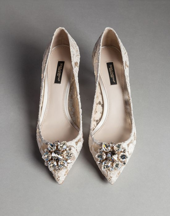 TAORMINA LACE BELLUCI PUMPS WITH BROOCH | Dolce&Gabbana Online Store