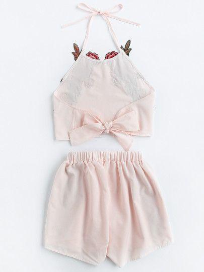 Halter Neck Rose Applique Crop Top With Shorts