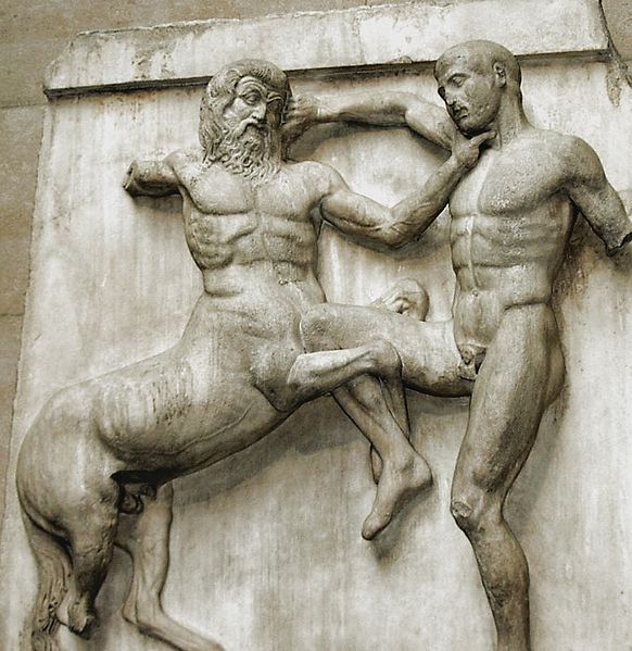 Metope from the Parthenon marbles depicting part of the battle between the Centaurs and the Lapiths.