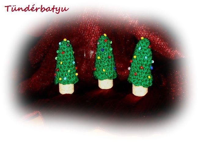 Crocheted pine trees with cork bole