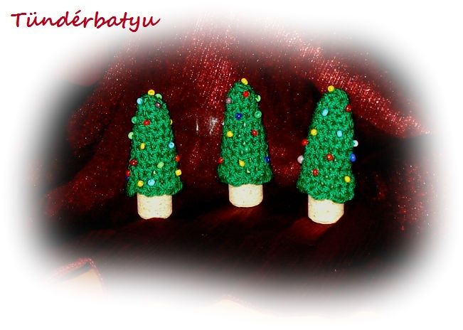 Crocheted pine trees with cork bole