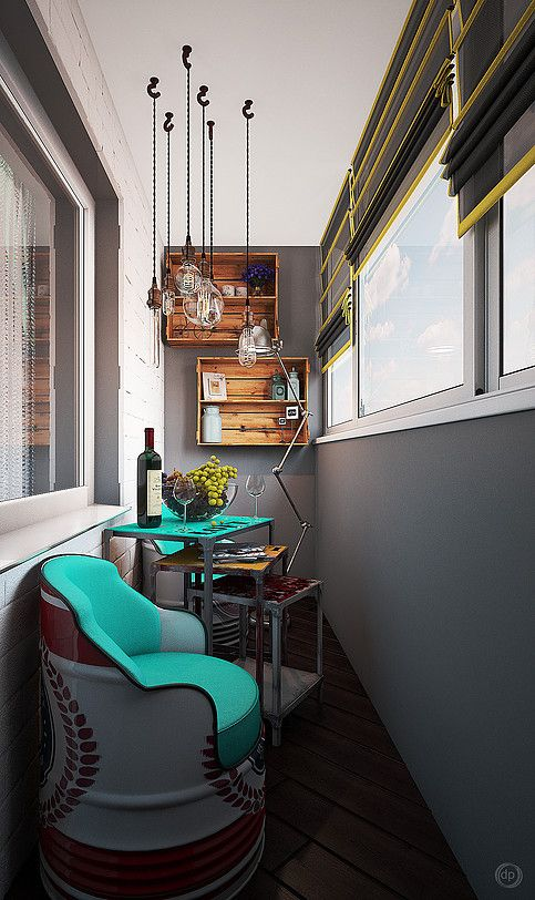 Интерьер балкона в стиле лофт. Дизайн интерьера квартир в Москве | dp-Interior  #балкон #дизайн #лофт #loft #interior #design #dianaponomareva