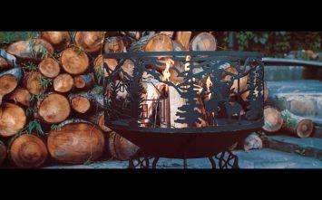 """Чаша для костра """"Дом в лесу"""" диаметр 800 мм., сталь 4мм."""