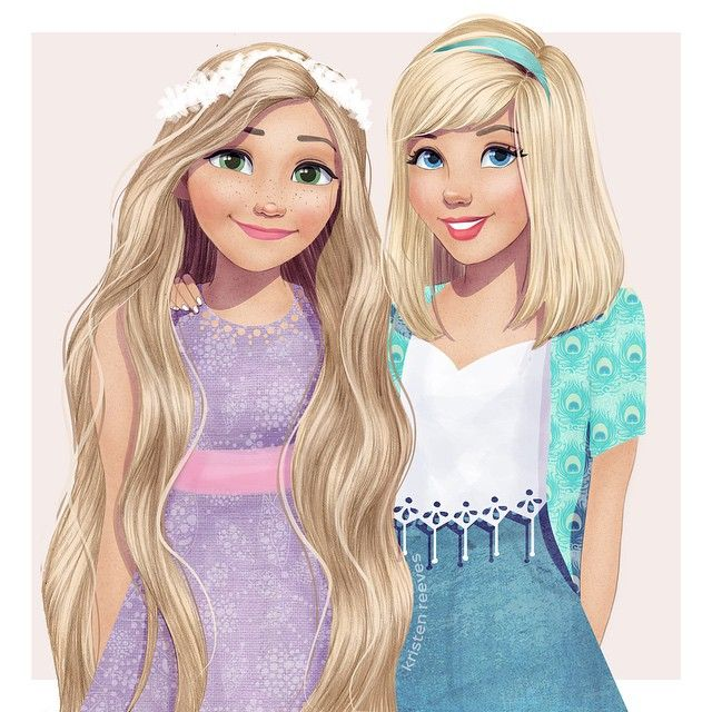 Rapunzel and Cinderella...teen friends by Kristenkreevesart