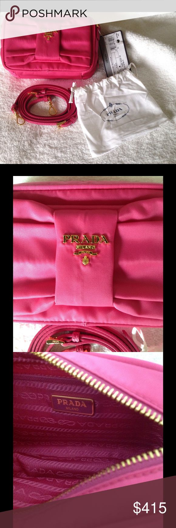 Prada Pink Nylon Bow Crossbody Camera Bag New with tag, but no box or hard plastic authenticity card. Soft card is attached. Leather strap is removable. Measures approximately 6 x 4 x 2.  Authentic. Offers welcome. NO TRADES. ~John 11:25-26~☀️ Prada Bags Crossbody Bags
