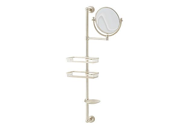 "Watermark | Transitional Shower Caddy, Nickel | The shower becomes a one-stop shop for all of your bathing needs with this useful caddy. Handmade of solid brass with a satin nickel finish, this wall-mounted caddy includes two shelves, a mirror, and a soap dish | 29""h x 10""d 