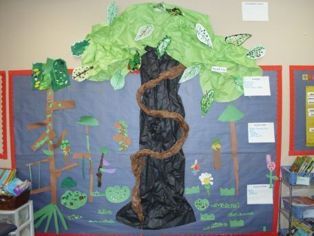 """Looking for an engaging way to end the school year?  Try building a rain forest with your class!  I have done this for the past 15 years and the kids learn so much and love to watch the rain forest come alive in our classroom.  If you want to go the extra mile - then you can have the bulldozers show up and have the children work together to answer the question, """"How can we save the rain forest?""""  Life cycles, forest layers, animals, plants, ecosystems, and tons of literacy activities!"""
