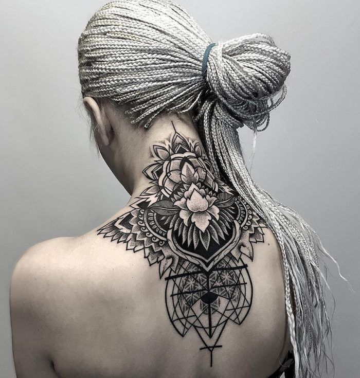 Geometric & Floral Neck Tattoo Ideas