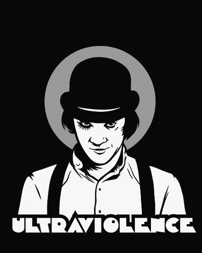 Ultraviolence. From the 1971 Stanley Kubrick film 'A Clockwork Orange' featuring Malcolm McDowell as Alex DeLarge
