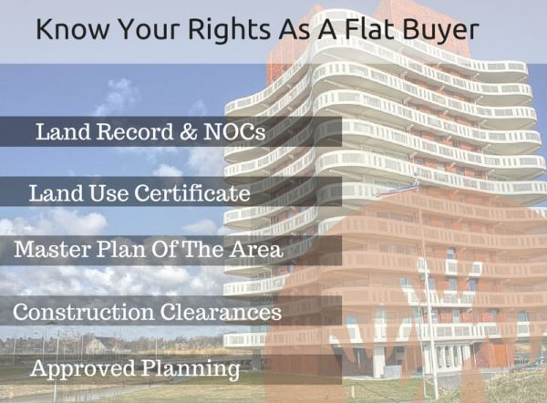 Know Your Rights As A Flat Buyer @ http://bit.ly/1KCtDhC  Time to know your rights and assert them as a real estate consumer, Documents to check while buying a flat-  1. Land Record,  2. Construction Clearances,  3. Approved Planning,  4. Land Use Certificate,  5. Master Plan Of The Area,  6. No Objection Certificates (NOCs)
