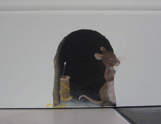 close-up of mouse hole mural in library // wow I wish I could do this in my home !!: