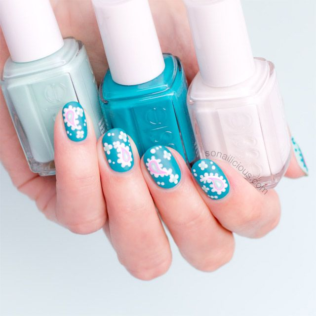 Paisley nail art for summer. How-to: http://sonailicious.com/paisley-nail-art-for-short-nails/