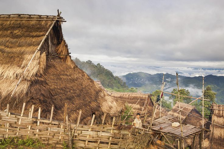 Traditional Akha village in the hills of Phongsali Province