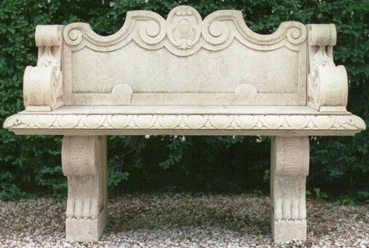 bench in italian Vicenza limestone - design by Garden Ornaments Stone srl - www.gardenorn.com