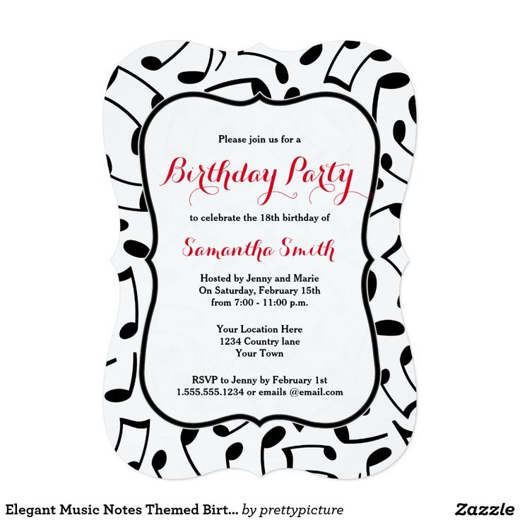 Wonderful Music Themed Birthday Party Invitations Contemporary ...