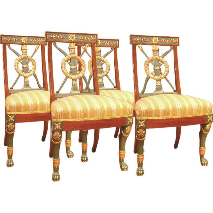 Set of Four Russian Neoclassical Chairs   From a unique collection of antique and modern dining room chairs at http://www.1stdibs.com/furniture/seating/dining-room-chairs/