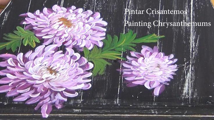 Pincel redondo  2 pintura multicarga (one stroke) Crisantemos.