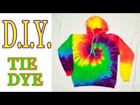 DIY Tie Dye Rainbow Spiral Hooded Sweatshirt [Tutorial] - YouTube