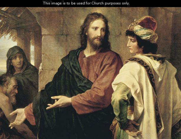 Christ and the Rich Young Ruler, by Heinrich Hofmann; GAK 244; GAB 48; Matthew 19:16–26; Mark 10:17–27; Luke 18:18–27; this image is to be used for Church purposes only.