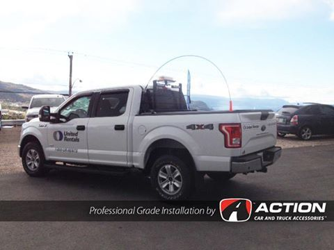 2016 F150 upfitted for United Rentals with a Backrack, SWS led beacon, safety whip, Lo-Pro QT tonneau cover by TruXedo Tonneau Covers, AVS vent visors and aeroskin