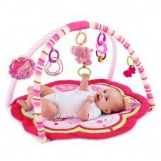 4 farklı melodiye sahip, anne veya bebek tarafından aktive edilebilen, fil şeklinde peluş oyuncak Çiçek şeklinde, renkli kumaş ünitesi, Bebeğinizin kendini keşfedebileceği, çiçek şeklinde ayna, Kelebek şeklinde dişlik ve kalp şeklinde çıngırak, Kendinden pilli,müzikli peluş oyuncak (pil bittiğinde değiştirilemez) Farklı oyuncaklar asmaya yarayan 4 adet bağlantı noktası Makinada yıkanabilen alt taban -  Hitap Ettiği Yaş Aralığı: Doğumdan itibaren kullanım  Ürünün Ölçüleri: 30 x 30 x 18