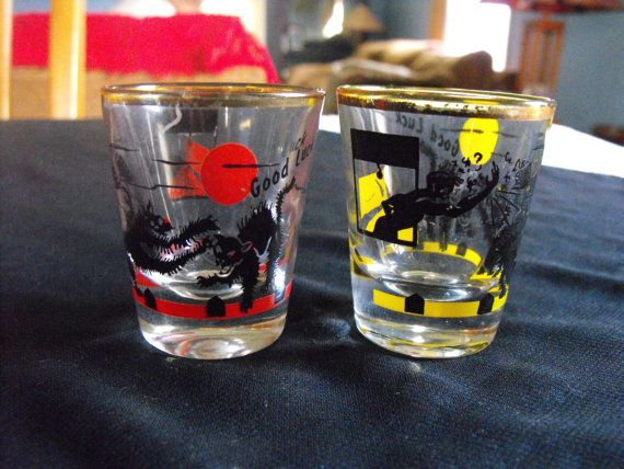 50s Black Cat shot glasses Good Luck X 2 by WitchesCloset on Etsy, $15.00
