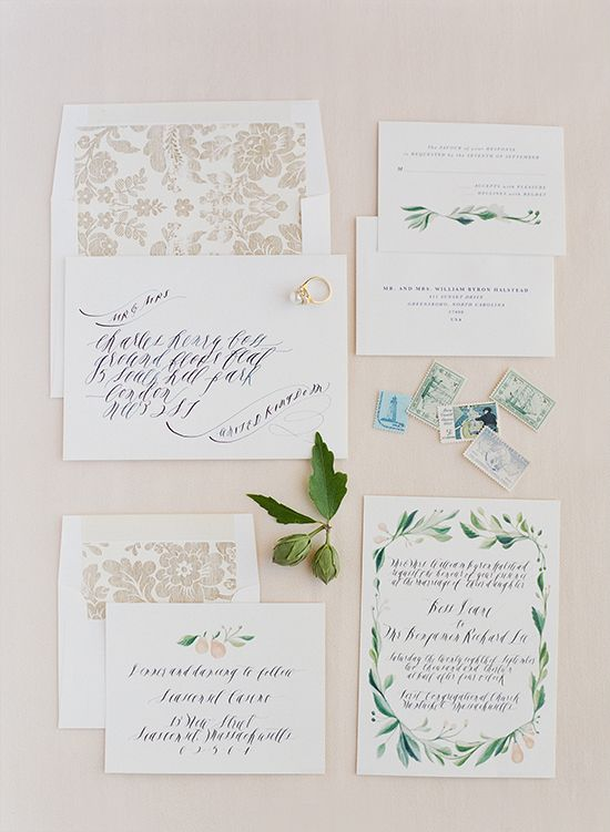 Hand Painted Wedding Invitation Suite By Feast Calligraphy || Wedding Chicks