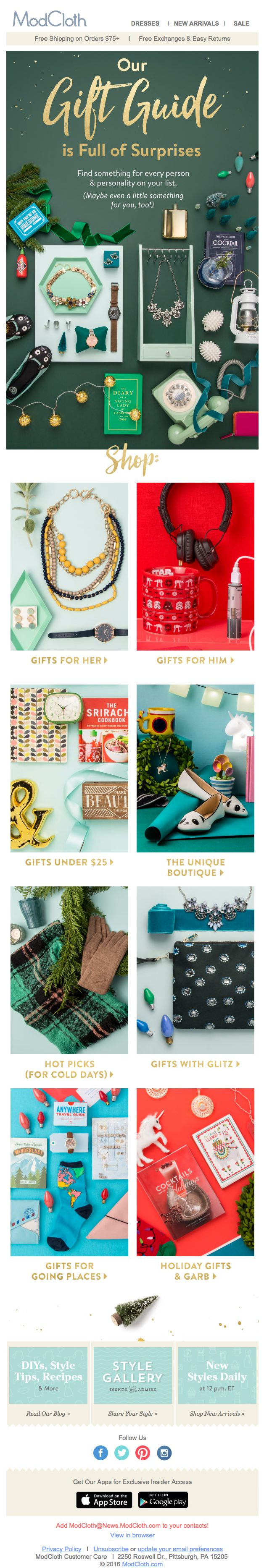 ModCloth gift guide email 2015