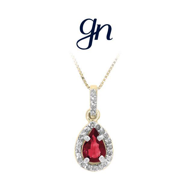 Dije Rubí Gota Oro Amarillo 14k y Diamantes. | Conoce más www.facebook.com/joyeriagn/