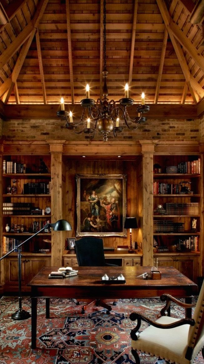 Rustic Library Den: 106 Best Images About Library & Office On Pinterest