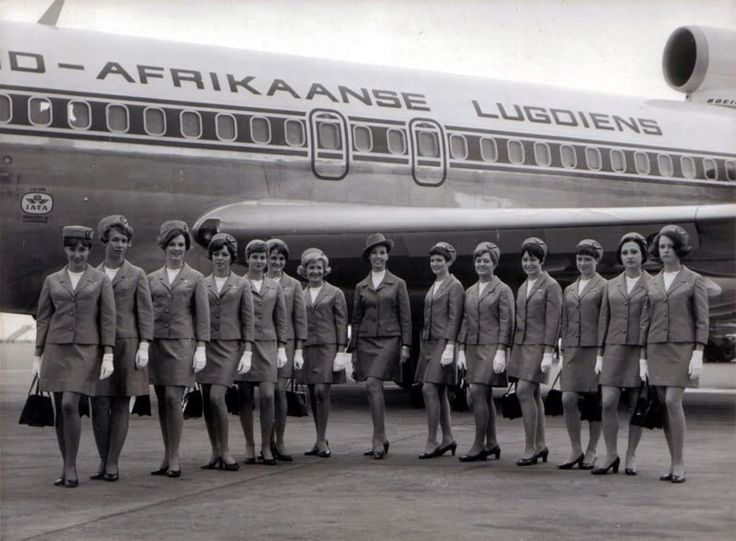 South African Airways stewardesses - clearly not a recent photo - not even black and white!