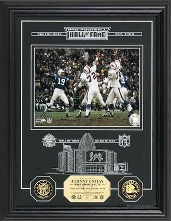 """Johnny Unitas Hall of Fame Archival Etched Glass 6"""" x 9"""" Framed Photograph and Medallion… #SportingGoods #SportsJerseys #SportsEquipment"