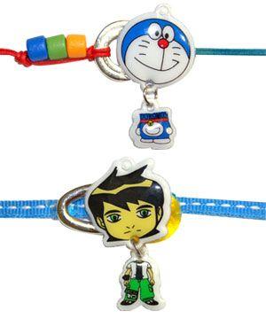 Kids Rakhi - Set of 2: A Doremon rakhi and a powerful BEN10 rakhi, both are kids favorite cartoon characters. Costs Rs 179/- http://www.tajonline.com/rakhi-gifts/product/rdr47/kids-rakhi-set-of-2/?aff=pinterest2013/