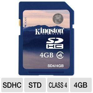 Tigerdirect Kingston 4GB SDHC 3 Flash Memory $39.9Card