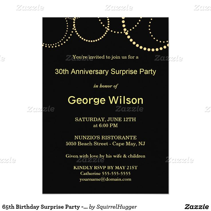 7 best birthday invitation images on pinterest 65 birthday 65th 65th birthday surprise party elegant monogram 5x7 paper invitation card stopboris Image collections