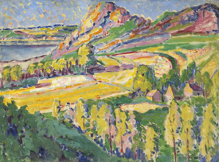 """This work, painted in Brittany, is a confident, dramatic depiction of the French landscape, reflecting the influence of Post-Impressionism on Emily Carr's work. """"Autumn in France,"""" 1911, National Gallery of Canada."""