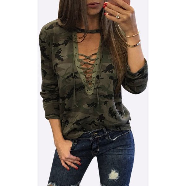 Yoins Sexy Camouflage Pattern V-neck Crossed Front Top ($18) ❤ liked on Polyvore featuring tops, green, long sleeve tops, night out tops, long sleeve v neck top, camouflage top and long sleeve going out tops