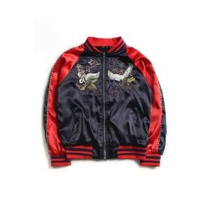 Unisex Embroidery Crane Pattern Stand-Up Collar Raglan Long Sleeve Color Block Bomber Jacket