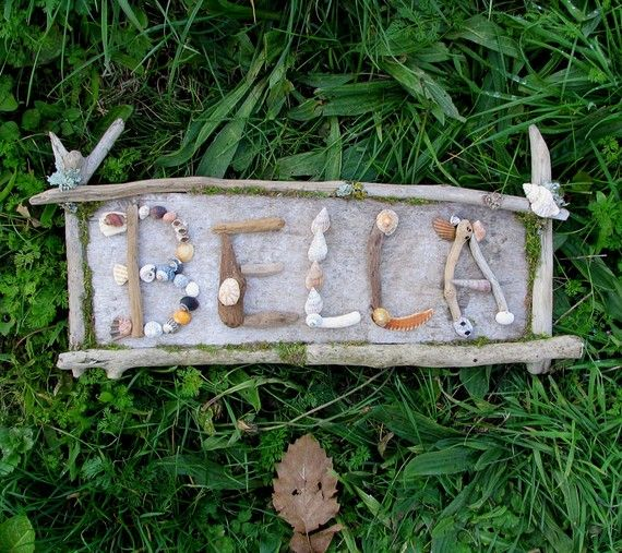 garden sign with natural materials