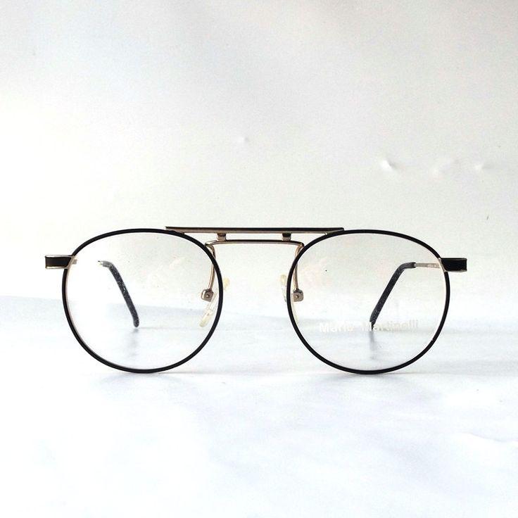 vintage 90's NOS matte black round eyeglasses metal gold frames modern retro eye glasses eyewear nerd geek mario martinelli double bridge by RecycleBuyVintage on Etsy