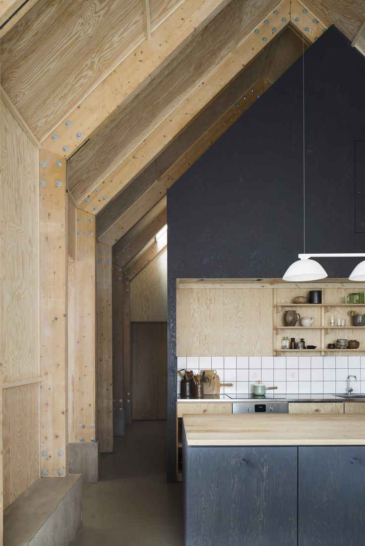 Forstberg Ling House for Mother soaring Scandinavian kitchen in natural and stained plywood with exposed beams and trusses