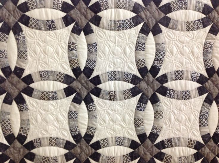 Double Wedding Ring Quilt Machine Pieced Hand Quilted