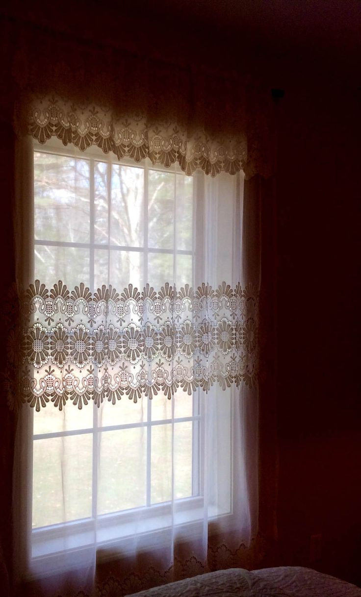 Vintage curtains lace white panels drapes window coverings floral - Charming Ivory Lace Curtain With Sunflower Detail Single Tie Back Panel 58 X