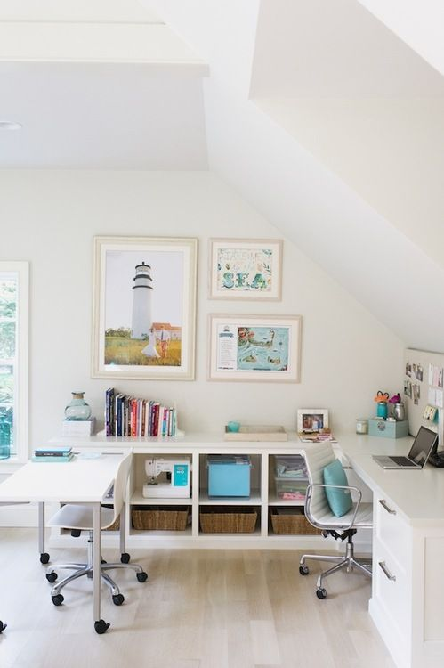 Oh how I heart this clean, white office space!!