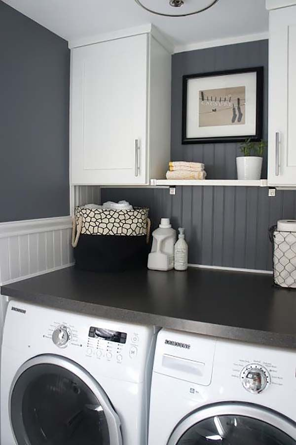60 Amazingly Inspiring Small Laundry Room Design Ideas Diy House Stuff White Rooms Grey