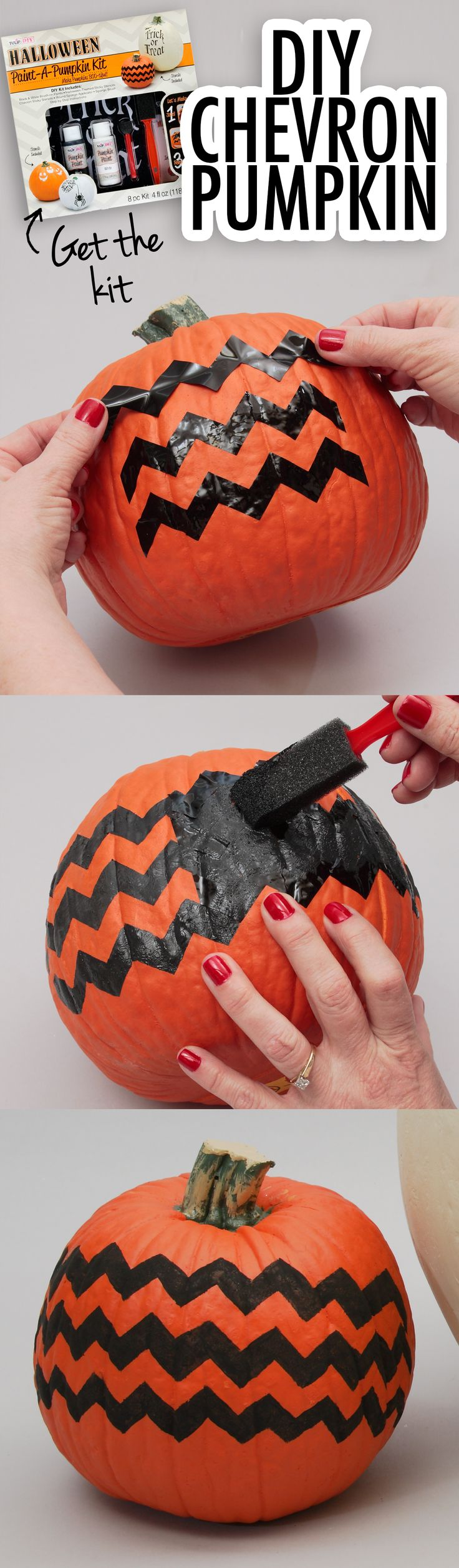 This DIY pumpkin decorating kit is great for anyone who doesn't like to cut pumpkins or scoop seeds! Safe and easy for kids to try, too! Pick up a kit at joann.com or a local Jo-Ann store.