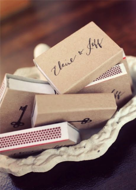 Give personalised matches to guests as favors, and use them as dressing on the bar to keep all the candles lit!