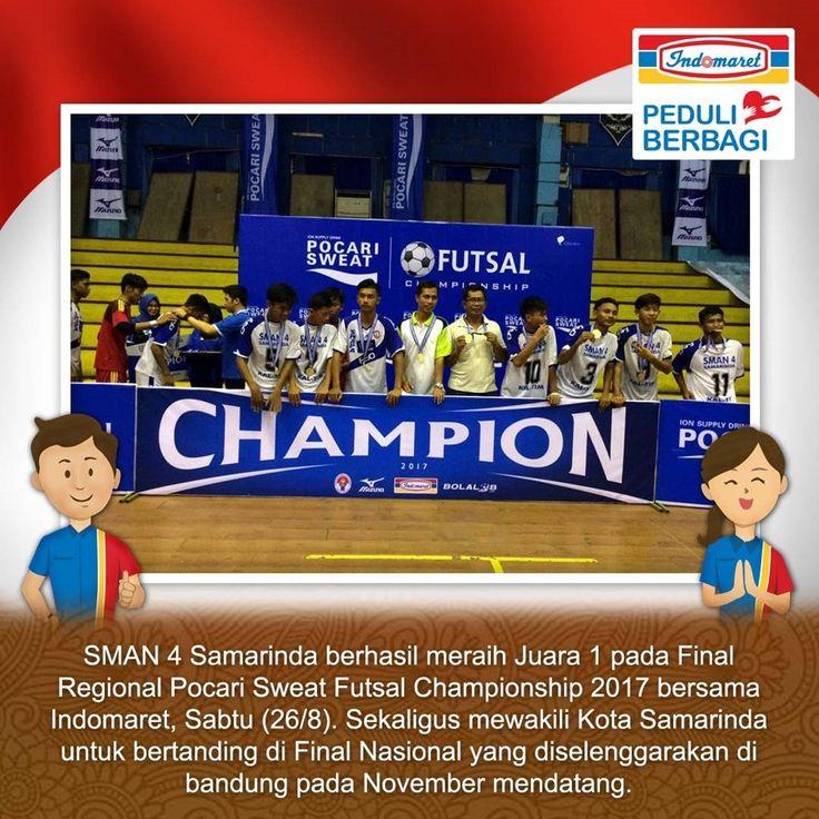 Sebanyak 16 SMA (Sekolah Menengah Atas)/ sederajat sangat antusias mengikuti Pocari Sweat Futsal Championship (PSFC) 2017 bersama Indomaret yang dilaksanakan di GOR Segiri Samarinda.  Pada babak final regional pada hari Sabtu (26/8), SMAN 4 Samarinda berhasil meraih juara pertama diikuti oleh SMKN 1 Denpasar sebagai juara kedua dan SMAN 2 Tabanan juara ketiga. SMAN 4 Samarinda, mewakili Kota Samarinda maju ke babak final nasional di Bandung pada November mendatang. Harapanya, PSFC 2...