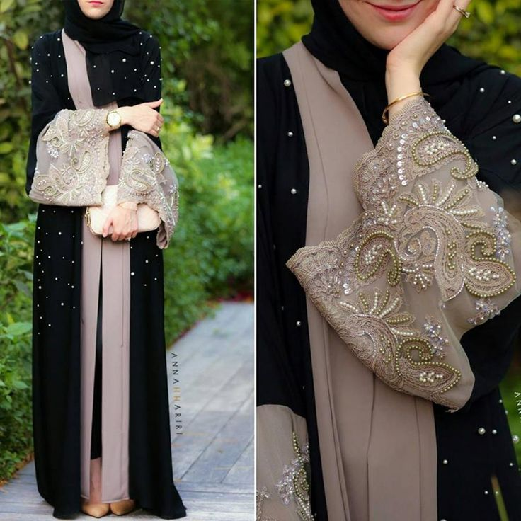 Hand beaded lace abaya